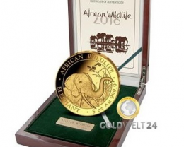 Somalia Elephant 5 oz Gold Proof Coin 2017