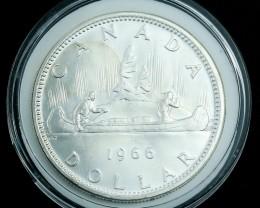 Silver .800  1966 Canadian Canoe Dollar in Capsule