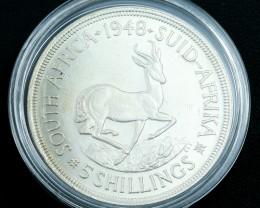 Silver .800 1948 South Africa 5 shillings Springbok in capsule