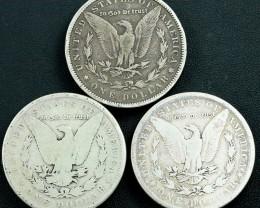 Silver .900  Three Morgans a s per images 1884-1879