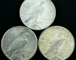 Silver .900 Three Peace dollars 1922-1923  as per images