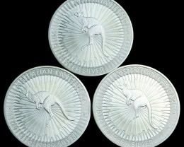 Silver .999  Three Kangaroo one ounce coins 2016