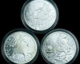 Silver .999 Three silver coins in capsules  Courage, Neptune,Pegasus