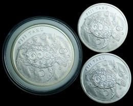 .999  Silver  Three Turtle Fiji silver coins