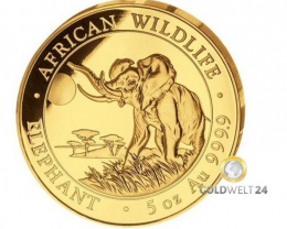 Somalia Elephant 5 oz Gold Proof Coin 2016