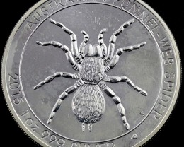2015 Funnel web spider silver one ounce Coin