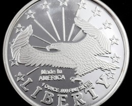 .999 fine Silver Round one ounce Liberty eagle