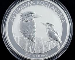 2017 Australian Kookaburra  one ounce 99.9% pure silver