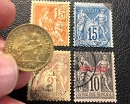 FRANCE 1928  50 CENTIMES COIN  PLUS FOUR STAMPS   J 447