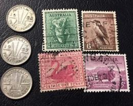 Parcel 3  x500 Silver 3 p  coins plus stamps J2608