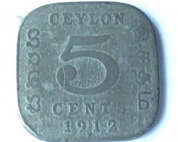 1912 British ceylon 5 cents J2631