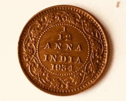 1/12 ANNA INDIA BRITISH 1934  calcutta mint   J2633