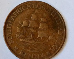 Union south Africa   one penny coin J2654