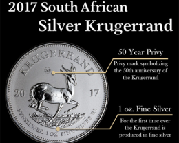 50th Anniversary Krugerrand South Africa 1 oz Silver 2017 NGC