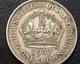 1937 CROWN .925 SILVER COIN J 2655