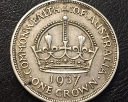 1937 CROWN .925 SILVER COIN J 2656