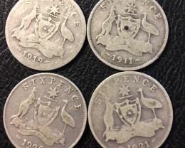 Pre war  925 Silver Six  pence parcel 4 coins J 2685