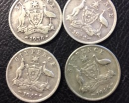 Pre war  925 Silver Six  pence parcel 4 coins J 2686
