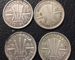 Pre war  925 Silver Three pence parcel 4  Australian coins J 2699