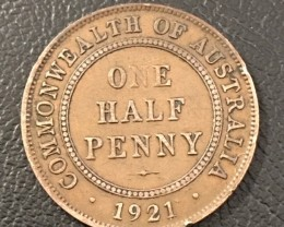 1921 Australian Penny coin King George V J 2714