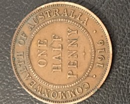 1916 Australian Penny coin King George V J 2715