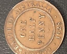 1928 Australian Penny coin King George V J 2717