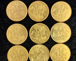 Replica  Gold Plated  Soverigns King Edward VII Nine Coins    J 2722