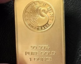 Replica  Gold Plated Bar Kangaroo Perth Mint one ounce J 2735