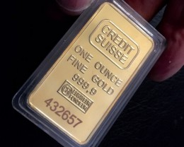 Replica  Gold Credit Suisse 1oz Gold Plated  Bar J 2729
