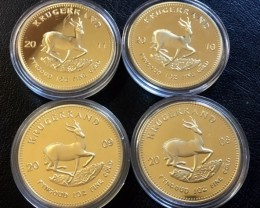 Replica   Four Gold Plated Kuggerand Paul Kruger 08,09,10,11 J 2736