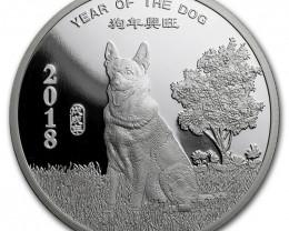 Lunar  year of dog  Pure Silver 99.9% round