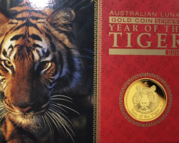 Lunar year of tiger 2010 gold  Proof coin  1/4 ounce