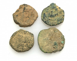 As Found ,four Nabataean Bronze Coins CP 141