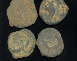 As Found ,four Nabataean Bronze Coins CP 145