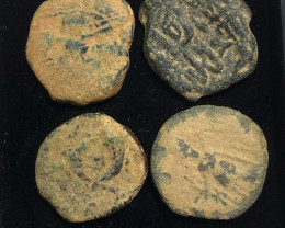 As Found ,four Nabataean Bronze Coins CP 144