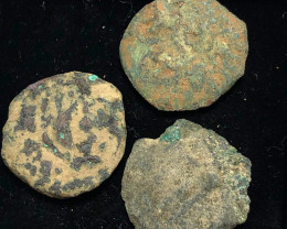 Original as found, 3 Judean Bronze coins Found Holy land CP 172