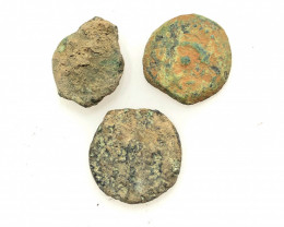 Original as found, 3 Judean Bronze coins Found Holy land CP 181