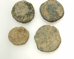Original as found, 4 Judean Bronze coins Found Holy land CP 132