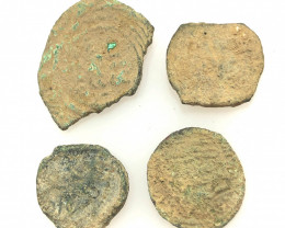 Original as found, 4 Judean Bronze coins Found Holy land CP 131