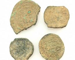 Original as found, 4 Judean Bronze coins Found Holy land CP 131