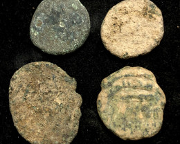 Original as found, 4  Judean Bronze coins Found Holy land CP 134