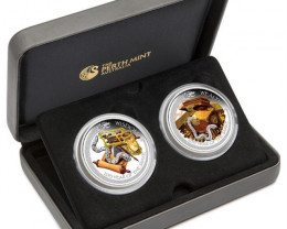 YEAR OF THE SNAKE 2013 PROOF TWO COIN - LUNAR GOOD FORTUNE