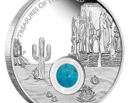 North America 2015 1oz Silver Proof Locket Coin with Turquoise