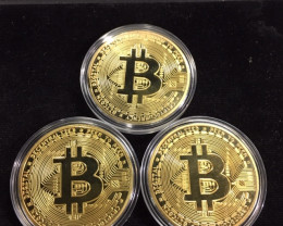 3x gold Bitcoin in Capsule Gift Art Collection new gold plated