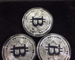 three Bitcoin in Capsule Gift Art Collection new silver  plated