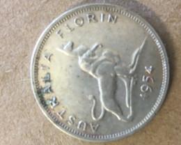 1954 kangaroo florin Silver Coin CP 396