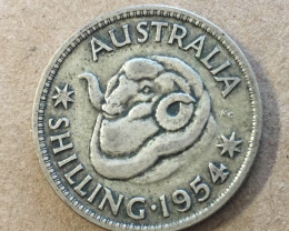 1954 one shilling Silver Coin CP 406