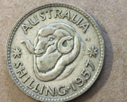 1957 one shilling Silver Coin CP 407