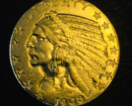 Collectible Indian head 1908  $5.00 Gold Coin replica   CP 417