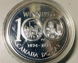 1974 Canadin .500 Silver Winnipeg coin